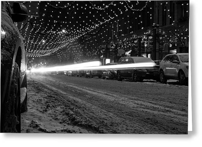Snowy Night Light Trails Greeting Card