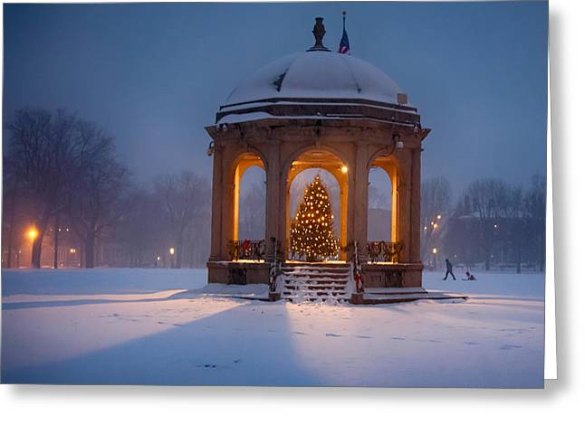 Snowy Night On The Salem Common Greeting Card