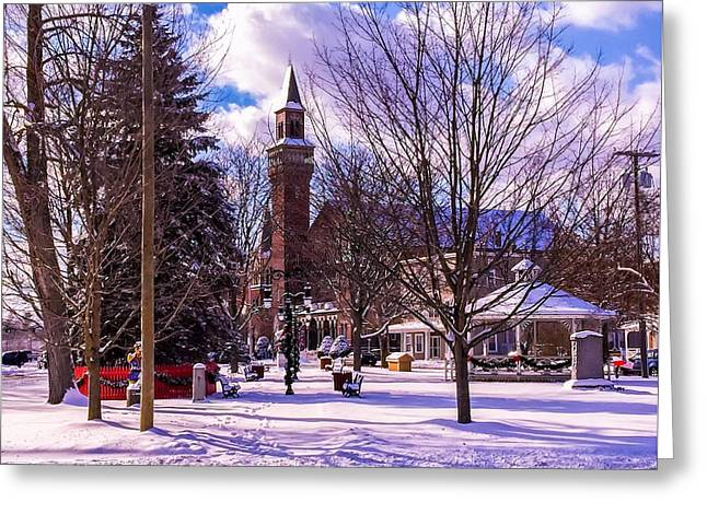 Snowy Old Town Hall Greeting Card