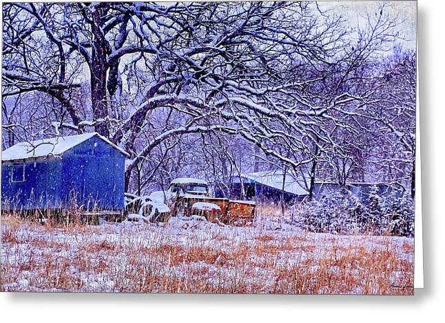 Snowy Outbuildings And Old Truck Greeting Card by Anna Louise