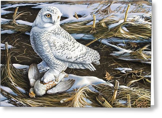 Snowy Owl And Hungarian Partridge Greeting Card by Larry Seiler