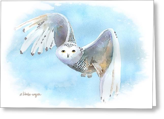Snowy Owl In Flight Greeting Card by Arline Wagner