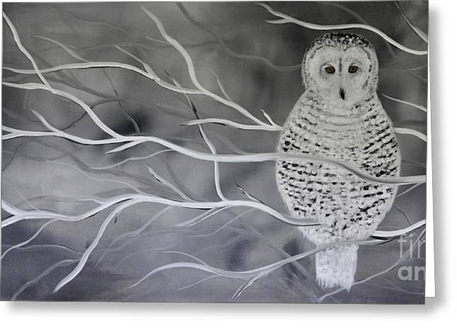 Snowy Owl Greeting Card by Preethi Mathialagan
