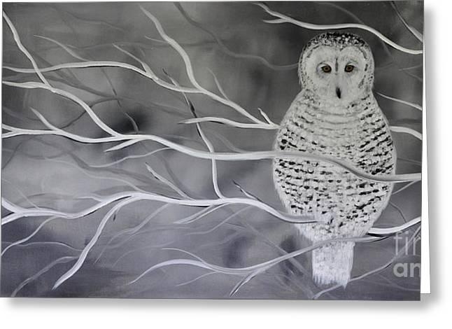 Woman And Owl Greeting Cards - Snowy Owl Greeting Card by Preethi Mathialagan