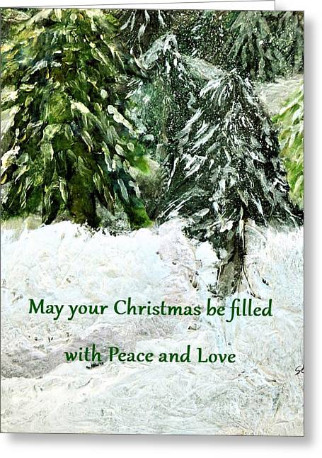 Snowy Peace And Love Greeting Card