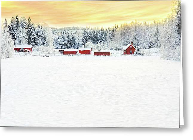Snowy Ranch At Sunset Greeting Card