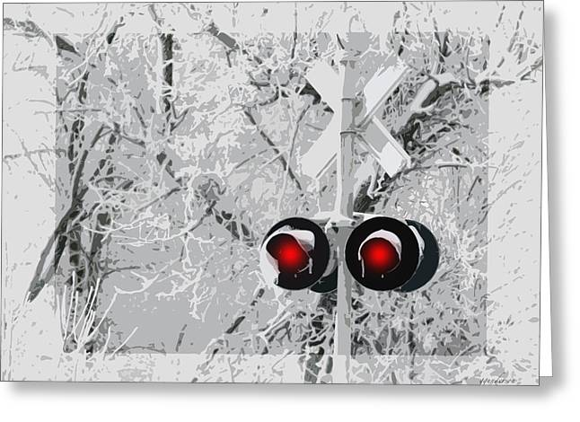 Snowy Red Light At Rr Crossing Greeting Card