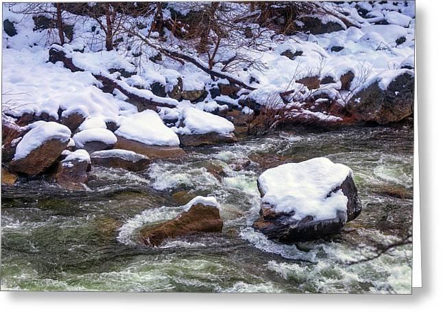 Snowy Riverbank Greeting Card