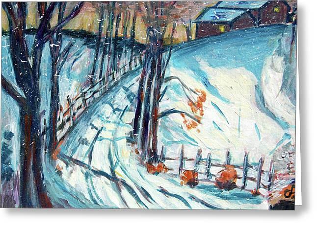 Snowy Road Greeting Card by Carolyn Donnell