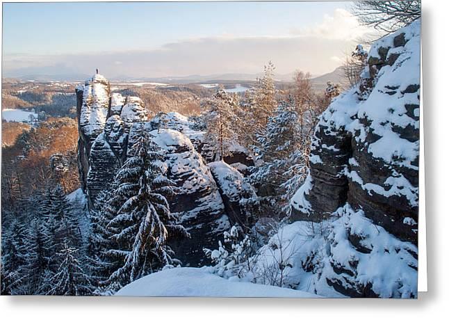 Snowy Rocks Of Saxon Switzerland Greeting Card