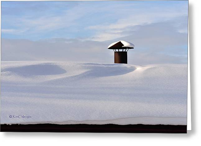 Snowy Roof With Stove Pipe Greeting Card