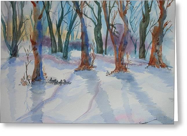 Snowy Shadows Greeting Card by Warren Thompson