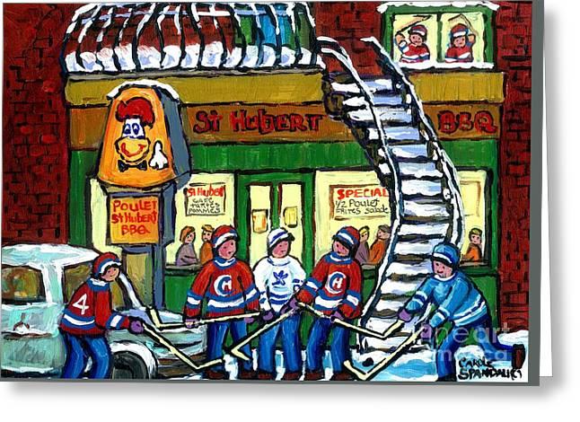 Snowy Staircase Street Hockey Original Montreal Paintings For Sale St Hubert Bbq  Winter Scene Art Greeting Card by Carole Spandau
