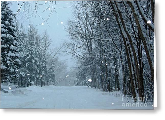 Snowy Street Greeting Card