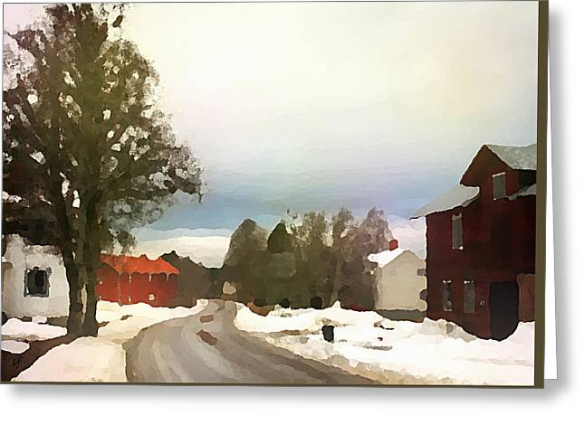 Snowy Street With Red House Greeting Card