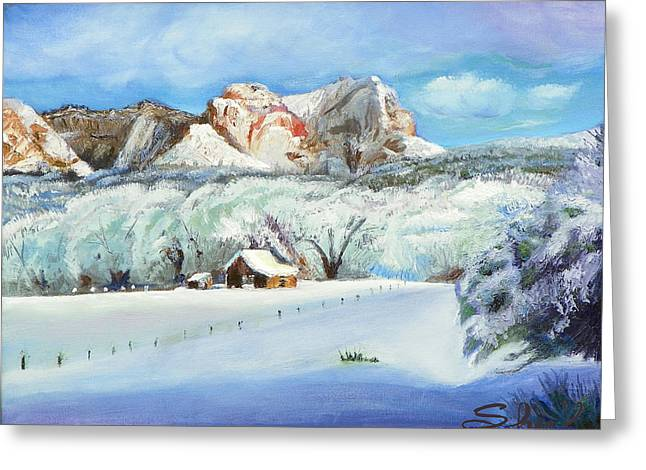Snowy Sugar Knoll Greeting Card by Sherril Porter