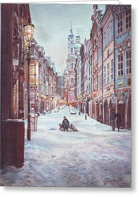 snowy Sunday night in Prague Greeting Card by Gordana Dokic Segedin