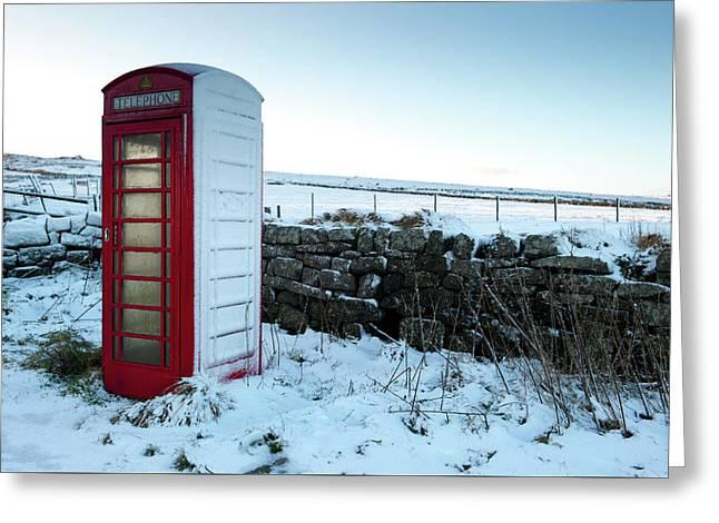 Snowy Telephone Box Greeting Card by Helen Northcott