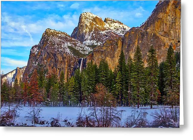 Snowy Valley Greeting Card by Garry Gay