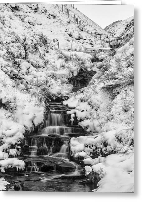 Snowy Waterfall In The Peak District In Derbyshire Greeting Card