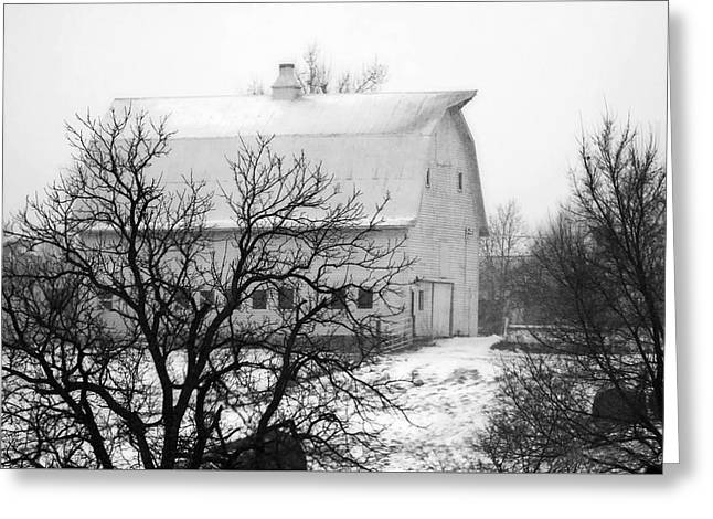 Snowy White Barn Greeting Card