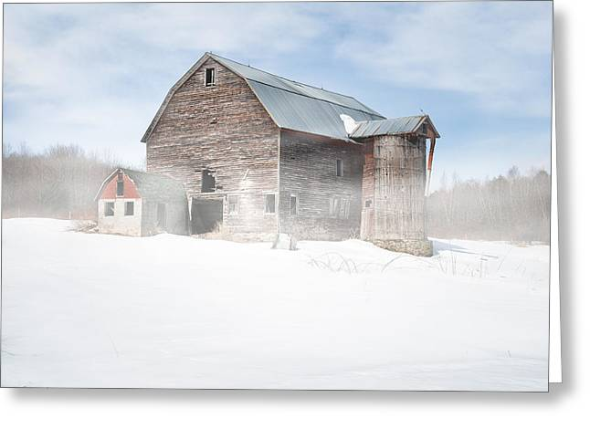 Greeting Card featuring the photograph Snowy Winter Barn by Gary Heller