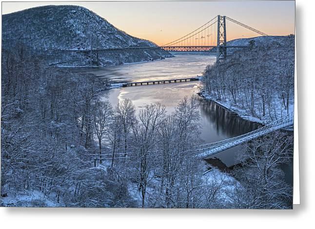 Snowy Winter Dawn At Three Bridges Greeting Card