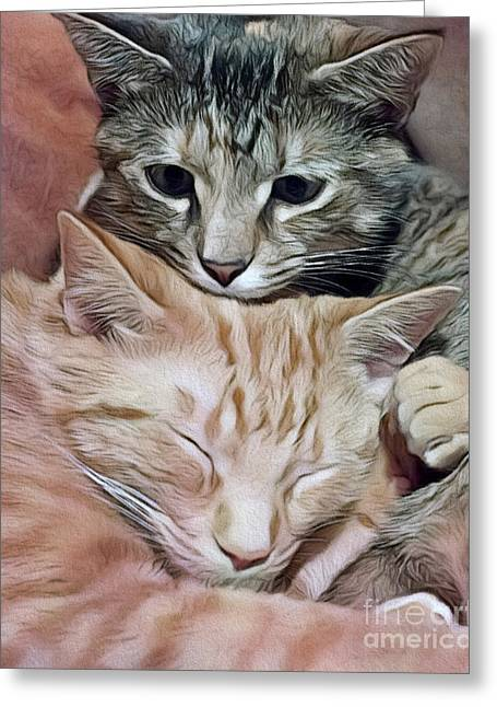 Snuggling Kittens Greeting Card