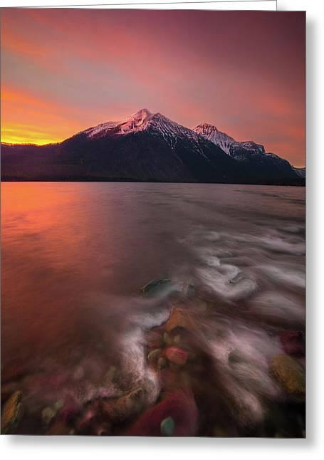 Snyder Creek Sunset // Lake Mcdonald, Glacier National Park  Greeting Card