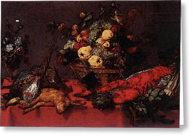 Snyders Frans Still Life With A Basket Of Fruit Greeting Card