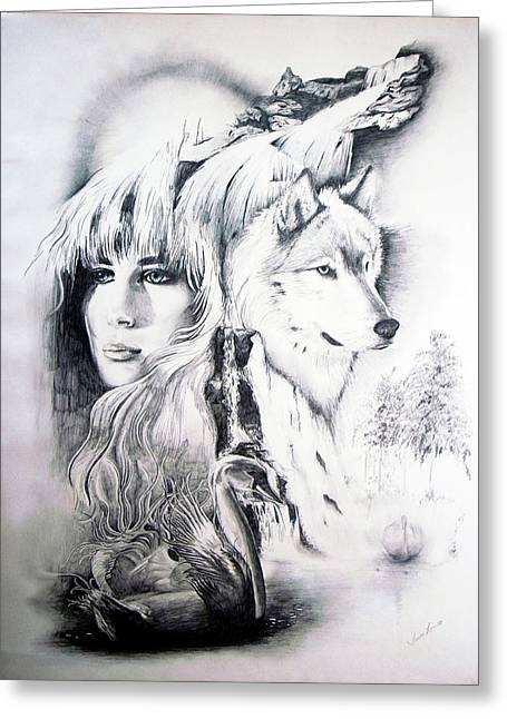 So-051 Lady And Wolf Greeting Card