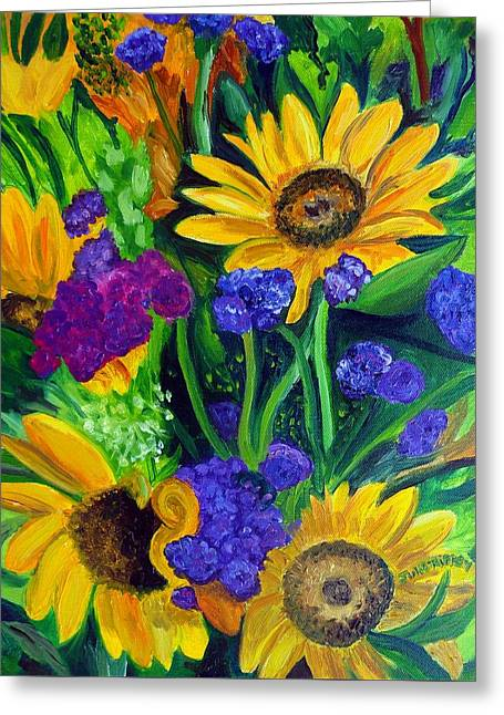 Sunflowers -soaking Up Sunshine Greeting Card