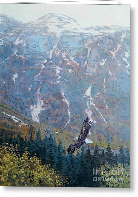 Bald Greeting Cards - Soaring Eagle Greeting Card by Donald Maier