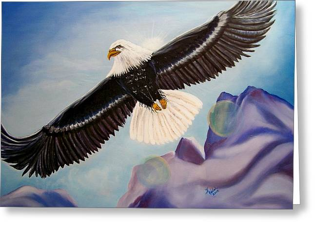 Soaring Eagle Greeting Card by Kathern Welsh