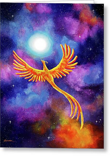 Soaring Firebird In A Cosmic Sky Greeting Card