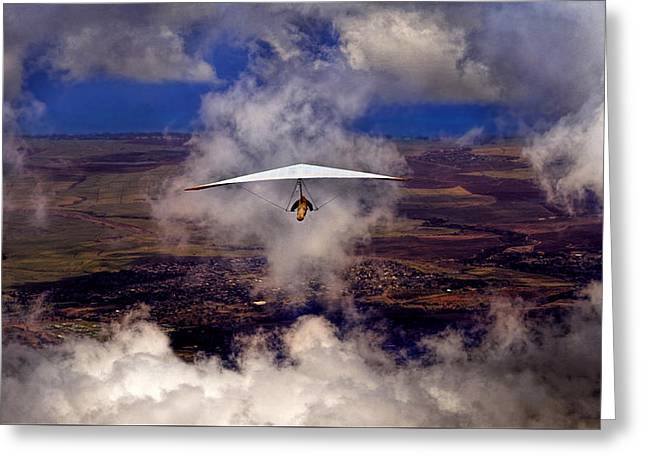 Greeting Card featuring the photograph Soaring Through The Clouds by Susan Rissi Tregoning