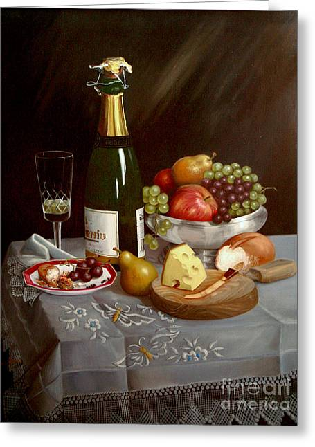 Sobremesa After Food Greeting Card by Mai Griffin