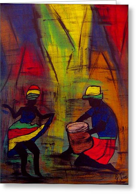Soca Dancing Greeting Card by Glenda  Jones