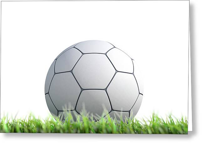 Soccer Ball Resting On Grass Greeting Card
