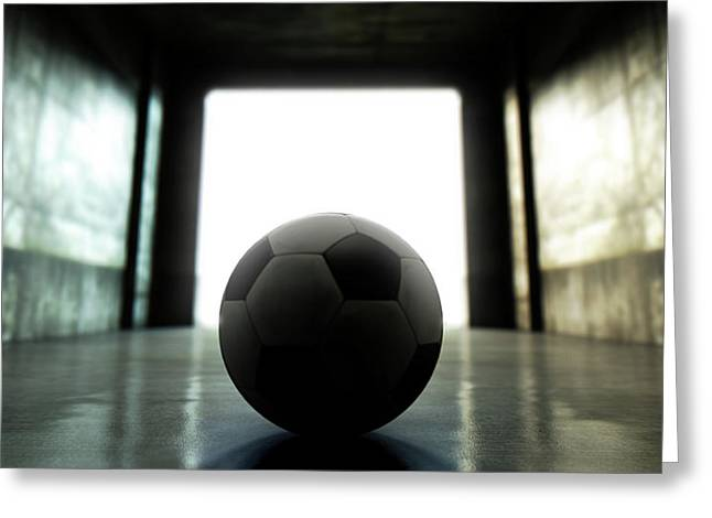 Soccer Ball Sports Stadium Tunnel Greeting Card by Allan Swart
