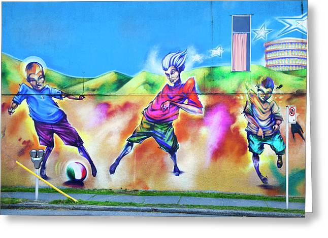 Soccer Graffiti Greeting Card by Theresa Tahara