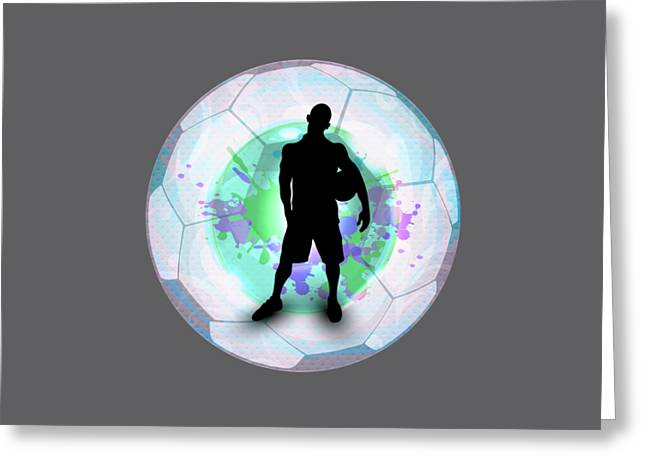 Soccer Player Posing With Ball Soccer Background Greeting Card by Elaine Plesser
