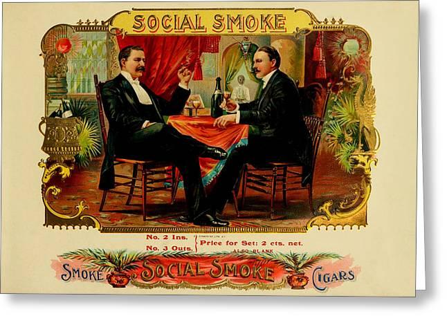 Social Smoke Vintage Cigar Label Greeting Card by Serge Averbukh