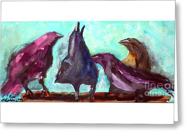 Socializing Greeting Card by Ron Stephens