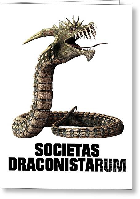 Society Of The Dragon Greeting Card by Esoterica Art Agency