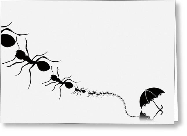 Society Of The Umbrella Ants Part One Greeting Card
