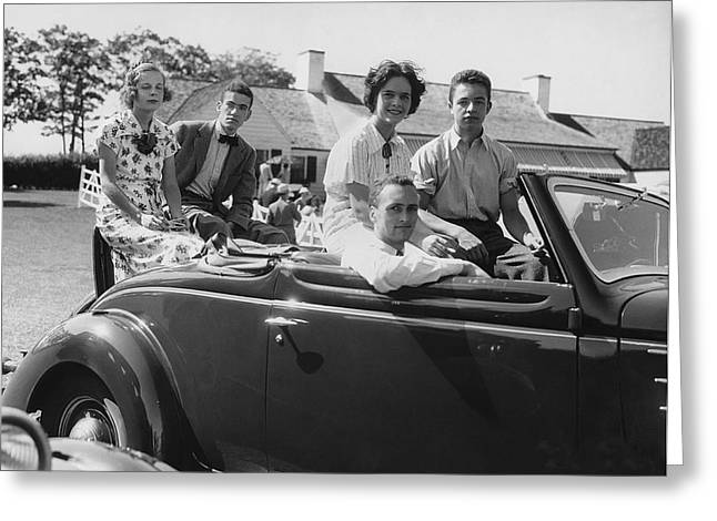 Society Youths In Convertible Greeting Card by Underwood Archives