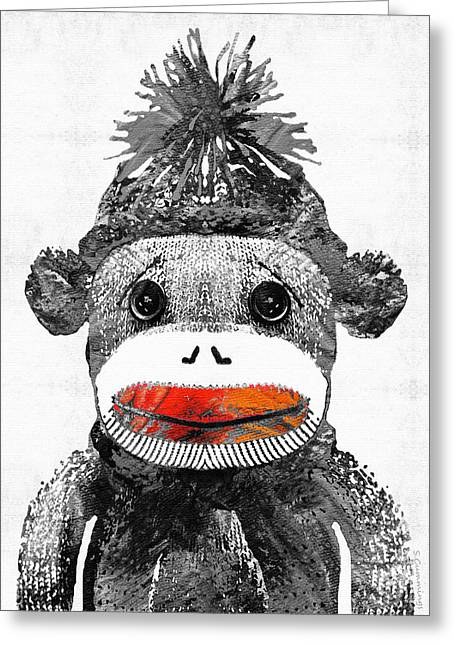 Sock Monkey Art In Black White And Red - By Sharon Cummings Greeting Card by Sharon Cummings