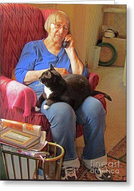 Socks And Marion On Phone Greeting Card by Fred Jinkins
