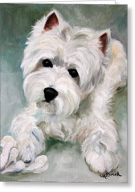 Westie Art Greeting Cards - Socks Greeting Card by Mary Sparrow